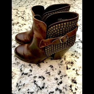ALANI BROWN LEATHER STUDDED ANKLE BOOTS